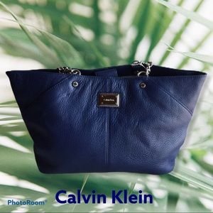 CK Blue leather Tote with Chain Handles